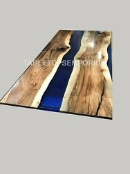 Custom Kitchen Table Epoxy River Table Blue Dining Table With Acacia Design Deco