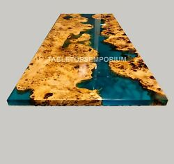 Epoxy Coffee Table With Blue Resin Rivet, Walnut Epoxy Table, Center Table Decor