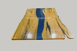 Custom Epoxy River And Herringbone Dining Tables Acacia Table Order Living Deco