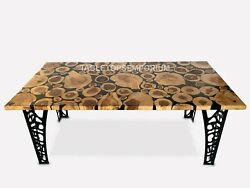 Abstract Acacia Wooden Resin Table Top Slab For Kitchen, Dining, Sofa Décor Tops