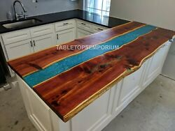 Acacia Wooden Resin River Dining Table Slab For Kitchen Sofa, Center/side Table