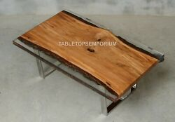 Epoxy Table With Clear Resin River Custom Table Acacia Wooden Table Decor Tops