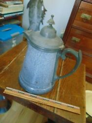 Rare Antique Gray Graniteware W/ Fancy Pewter Top And Spout Coffee Pot