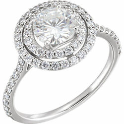 6.5 Mm Rond Forever Un Andtrade Synthandeacutetique Moissanite And 5/8 Cts Diamant Bague 14k Or