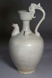 A Very Fine/rare Chinese White Ewer/dragon Handle/hen Spout-4th C.