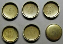 6 Early Nos Solid Brass 1 1/2 Freeze Out Plugs Part No. 2497 Studebaker Co.