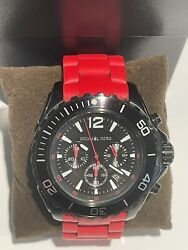 Men Watch Chronograph Red Silicon