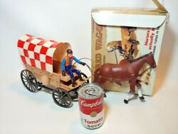 Vintage Battery Operated Purina Dog Chow W/ Box Covered Wagon Western Cowboy Toy