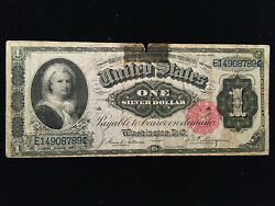 1886 One Dollar 1 Martha Silver Certificate Currency Note Bill