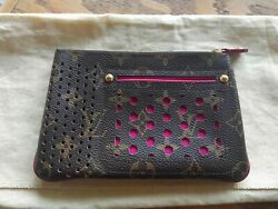 Auth Louis Vuitton Monogram Perforated Pochette Plat Pouch M95219 pre owned F S $390.00