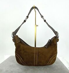 Coach Runway Small Brown Suede Leather Hobo Hand Bag Purse Zip Auth Free Ship $47.00