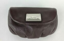 Marc Jacobs New Runway Auth Brown Leather Clutch Purse Bag Card Slots Travel $57.00