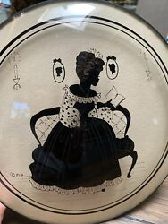 """Reverse Painted Convex Glass Silhouette By Peter Watson Studio 9"""" Lady Reading"""