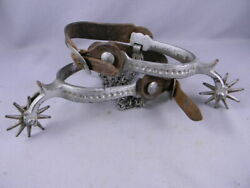 North And Judd Spurs Moon And Stars Antique Cowboy W/ Leathers Heel Chains