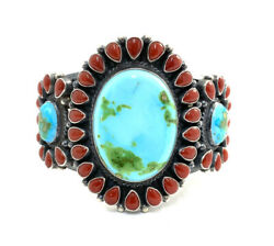 Native American Sterling Silver Sonoran Gold With Natural Coral Cuff Bracelet