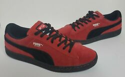 Rare Basket Mongolian Shoe Bbq Sample Red And Black Suede Leather Men's 11.5