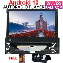 7'' Flip Out Touch Screen Single 1 Din Android 10 32gb Car Radio Dvd Stereo Ccd
