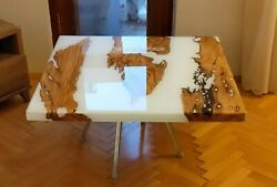 White Epoxy Table With Clear Resin Custom Table Acacia Wooden End Table Tops