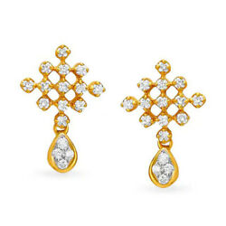 1.05ct Natural Round Diamond 14k Solid Yellow Gold Dangler Earring
