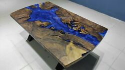 Acacia Dining Table/ Blue Epoxy Resin Table/dining Room Furniture/ Epoxy Decors