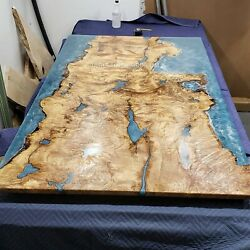 Ocean Blue Resin Epoxy Wooden Dining Custom Acacia And Wooden Furniture Table Deco