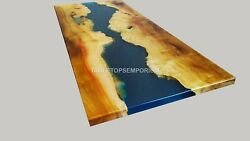 Mappa Burl Acacia Wooden Blue Resin River Dining Conference Table Top Home Decor