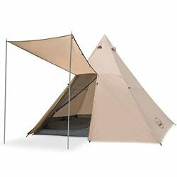 Family Camping Tent Large Waterproof Tipi Tents 8 Person Room Teepee Off-white