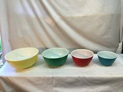 4 Pc Set Pyrex Primary Colors Nesting Mixing Bowls Nice