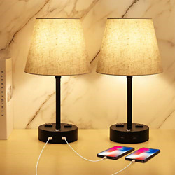 Table Lamps For Bedrooms Set Of 2, Dimmable Nightstand Lamp, 3 Way Touch Cont...