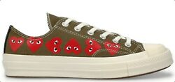 Converse X Play Cdg Multi Heart Chuck Taylor And03970 Low Khaki Unisex Shoes 3-12
