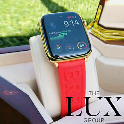 Apple Watch Series 6 24k Gold Plated 44mm Breitling Rubber Red Deployment Band