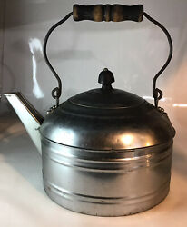 Antique Silver Platedtea Or Coffee Pot Kitchen Primitive Country Wood Handle