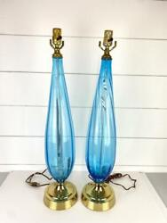 Vintage Modern Large Turquoise Glass Table Lamps Lights Pair Mid Century Murano