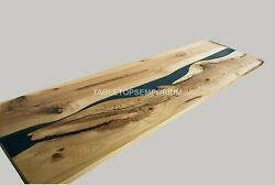 Blue Epoxy Resin And Olive Restaurant Dining Table Acacia Wood Working Top Décor