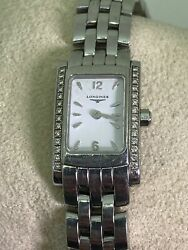 Longines Dolcevita White Dial Diamond And Steel Rectangle Ladiesand039 Watch L5.158.0