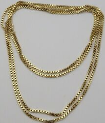 Heavy 60 Inch Long 9 Carat Solid Yellow Gold Muff Guard Chain Weighs 54.3 Grams