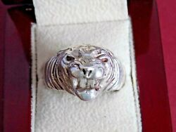 Solid 925 Silver Animal Head Ring. Size Y. Leopard, Lion, Cheetah, Wolf, Tiger