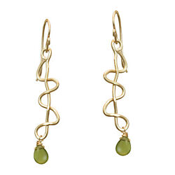 Elongated Hammered Squiggle Shapes Drop Earrings With Choice Of Stone - 2-1/4