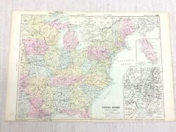 1892 Antique Map Of The Eastern United States Of America East Coast G W Bacon