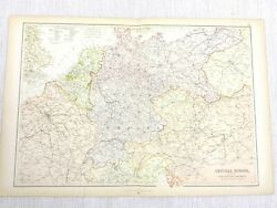 1888 Antique Map Of Central Europe Railway Routes Lines 19th C Blackie And Son