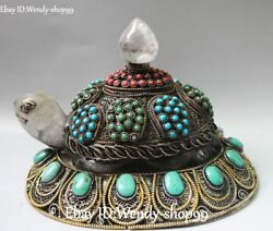 Tibet Silver Natural Crystal Filigree Turquoise Coral Tortoise Turtle Statue