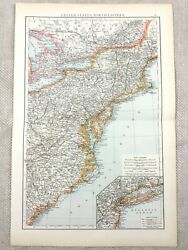 1895 Map Of The United States East Coast New York Antique 19th Century Victorian