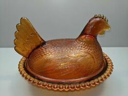 Flawless Vintage Indiana Brown / Amber Glass Hen On A Nest Covered Candy Dish