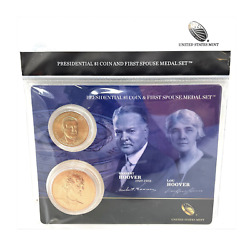 U.s. Mint Presidential 1 Coin And Spouse Medal Set Herbert And Lou Hoover