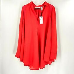Byron Lars Tunic Pink Beauty Mark Convertible Long Sleeves Button Up Nwt Size 12