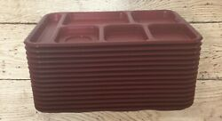 Cambro School Food Compartment Bct1014 Red Trays Lot Of 15 Usa Cafeteria Style
