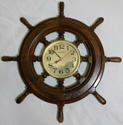 Vintage Wooden 21 Ship Wheel With Telesonic Quartz Times Wall Clock - Works
