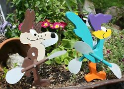 Road Runner And Wiley Coyote Whirligig Set Rr 8-1/4 And Coyote 9 / Hanging