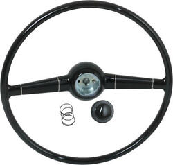 Steering Wheel - Gloss Black - With Horn Button - Ford Deluxe Passenger