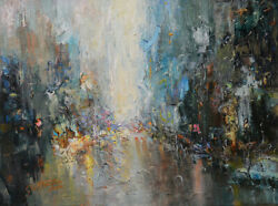 -original Painting By American Artist Jack Jung / Abstract Cityscape Jj-0056lc